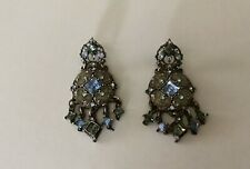 Vintage Sterling Silver  Dangle Stud Earrings With Blue Stones