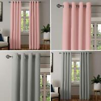 Blackout Eyelet Curtains Thermal Plain Blush Pink Grey Ring Top Curtain Pairs