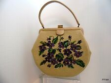 Needlepoint Purse Handbag Beige Neutral Color Vintage Pansies