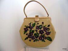 Needlepoint Purse Handbag Beige Neutral Vintage Pansies Two Sided Stitching