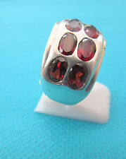 925 Argento Naturale Taglio Ovale Granati Rosso Scuro Dimensione N, US 6.75 (rg2254)