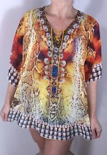 NEW Tunic Crystals Bling Oversized Floaty Cool Soft Semi Sheer STUNNING One Size