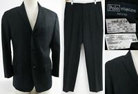 Polo Ralph Lauren Men's Suit Size 40S Short Wool & Cashmere Made In Italy Black