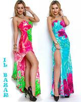 vestito donna abito lungo scollo cuore profondo spacco 2 colori sfumato tg unica