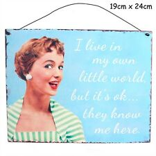 I Live in My Own World Metal Hanging Sign Wall Plaque Shabby Chic Gift Homeware