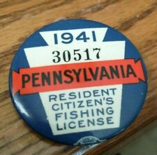 New listing 1941 Pa Pennsylvania Resident Fishing License Button Pin w/papers