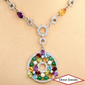Estate Diamond 32.73ct Amethyst Citrine Pearl 18K Gold Necklace 56.2 Grams NR