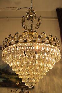 Antique Vintage French Basket Style Crystal Chandelier Luster Light 1960's.16 in