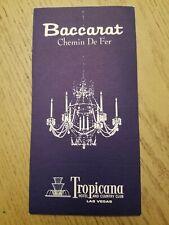 RARE 1960s Tropicana Casino Hotel Las Vegas NV Baccarat Rules Gaming Brochure