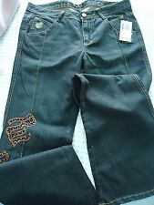 NEW Woman's size 11 ROCAWEAr Roca Black Jeans with Copper Studs Logos