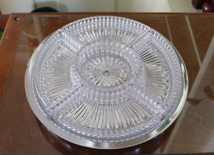 Vintage Chrome Plated Lazy Susan Server with Five Piece Crystal Dish Inserts