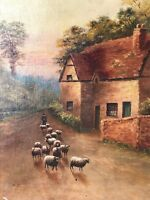 Fine 19th Century Oil Landscape Painting Of Shepherd & Flock Of Sheep Signed