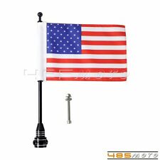 Custom Motorcycle Black Rear Side Mount Flag Pole with USA Flag For Harley