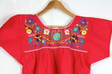 Hand Embroidered Red Blouse Made Mexico Boho Size Small STUNNING Quality