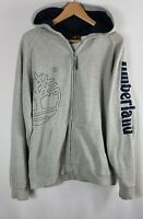 Timberland Mens Vintage Zip Hoodie Extra Large Size XL Grey Hooded Jacket 90s