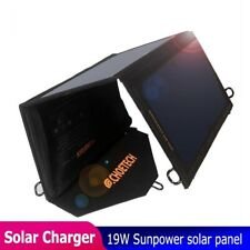 Waterproof Solar USB Charger 19w Panel With Auto Detect Tech For iPhone Samsung