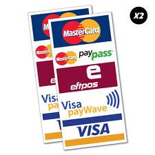 2X Mastercard Paypass Eftpos Visa Paywave Sticker Decal Shopfront Trading #5450K