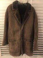 Rugged Sawyer of Napa Dark Brown Sheepskin Shearling Suede Coat Jacket Size M