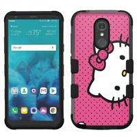 for LG G Stylo 4 Hard Impact Rugged Hybrid Cover Case Hello Kitty Pink Dots #A