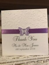 50 Wedding Thank You Cards - Embossed Butterfly Design