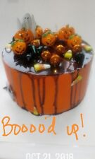 "FAKE FOOD BOOOED UP orange cake with chocolate drizzle 8 x 5""🎃😱🎃"
