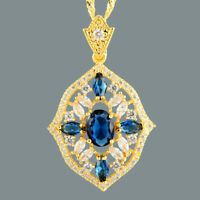 Oval Blue Sapphire 18K Yellow Gold Plated Slide Pendant Necklace Curb Chain