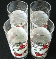 4 Libbey Christmas Winter Village Beverage Glasses Tumblers Glassware Sleigh