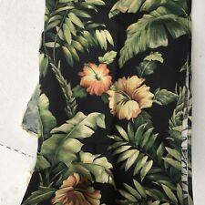 2 New Tropical Leaves & Flowers Hibiscus Curtain Panels 40x54 Vintage Look