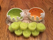 Partylite Spooky Ghost Tealight Candle Holders with a dozen tealights