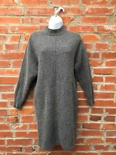 Vintage Sweater Dress Tunic Womens Gray Wool Blend Mockneck LS (1059)