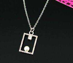 New Pendant Fashion Betsey Johnson Rhinestone Square Pearl Silver Necklace Women