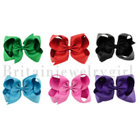 "6pcs Set 6"" Hair Bows Tiny Boutique Alligator Hairpin Barrettes for Baby Girls"