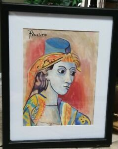 Picasso Original Watercolor -Signed-Gallery Stamp -Framed-Not A Copy