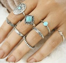 8 PCS Knuckle Ring Set Silver Tone Different sizes Natural Stone UK Seller R445