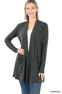 Womens Open Front Fly Away Cardigan Sweater Long Sleeve With Pockets Loose Drape