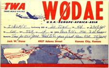 Cartolina QSL Radioamatori Aviazione TWA Trans World Airlines 1954 USA Europe Af