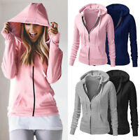 Womens Plain Hoodies Fleece Sweatshirt Hooded Coat Casual Zipper Jacket Outwear