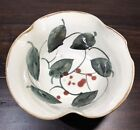"""Gorgeous Hand Painted 7"""" Art Pottery Bowl Wavy Edge w/ Leaves & Berries - Signed"""