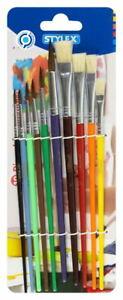 Stylex Malkasten Pinsel Tuschpinsel Malpinsel Schulpinsel 10er Set