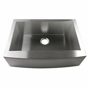 "24"" Zero Radius Single Bowl Stainless Steel Apron Farm Sink Curved Front"
