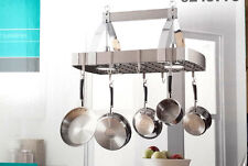 GOURMET Kitchen INDUSTRIAL Brush Nickel/Chrome 2 light ceiling STORAGE pot rack