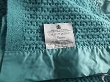 Vintage Teal Earlys of Witney 100% Pure New Wool Cellular Blanket Abingdon Style
