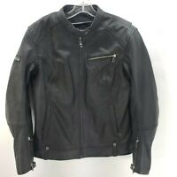 Women's Victory Motorcycle Black Leather Jacket Size XL Armored Protector Padded