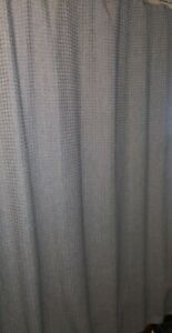 Threshold Gray Fabric Shower Curtain. Gently used. Well made material.