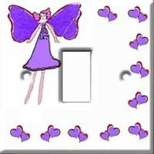 Brand New - Purple Fairy and Hearts Girls Light Switch Cover