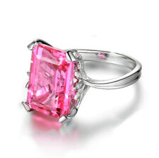 Ring Engagement Jewelry Gift Size 9 Women'S Fashion Silver Pink Cubic Zirconia