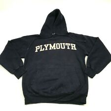 VINTAGE Plymouth Hoodie Sweatshirt Size Small S Blue Hooded Sweater Pullover