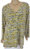 Kasper Blouse Top Size 2X New Black Yellow White 3/4 Sleeve Gold Ring Decoration