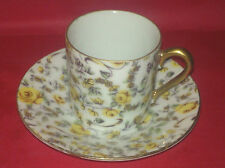 Inarco Yellow Chintz Demitasse Cup+Saucer-Japan-Gold Trim-E728-VINTAGE~VERY GOOD
