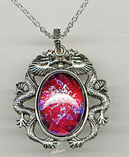 AMAZING FIRE OPAL Dragon Breath LARGE Mexican crystal Necklace *925 Silver Chain
